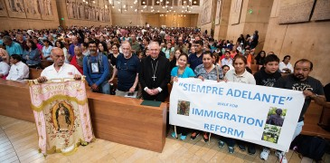 """THOUSANDS GATHER FOR MASS CELEBRATING IMMIGRANT SPIRIT IN AMERICA Pilgrims from different nationalities and backgrounds challenged themselves to walk long distances today to raise awareness of the dire need of comprehensive immigration reform, attending the call to be merciful and compassionate in this Year of Mercy. They joined thousands of faithful, including those from the Archdiocese of Los Angeles and Dioceses of San Bernardino and Orange who gathered today for a special Mass in Recognition of All Immigrants presided by Archbishop José H. Gomez at the Cathedral of Our Lady of the Angels in downtown Los Angeles on July 17th.  """"We celebrate the immigrant spirit of the people of our country. This is the story of Los Angeles, the story of the State of California, and the story of our country – which is a nation of immigrants,"""" said Archbishop Gomez. """"We gather to pray for all of the immigrants and their families – past, present and future. We pray for immigration reform in our country, for our elected officials and for people all over the world that they open their hearts to the immigrants who come to their countries."""""""