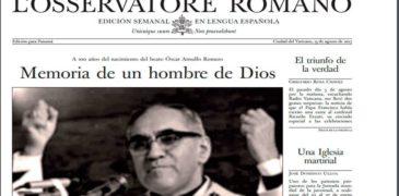 EDICIÓN PARA PANAMÁ DE L'OSSERVATORE ROMANO PUBLICA HOMENAJE AL BEATO ROMERO