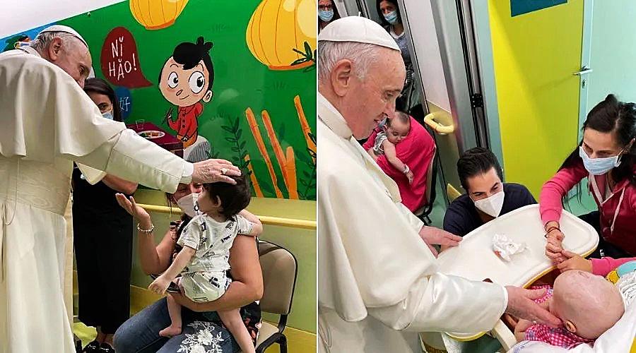 PAPA FRANCISCO VISITA A NIÑOS ENFERMOS DE CÁNCER EN EL HOSPITAL GEMELLI